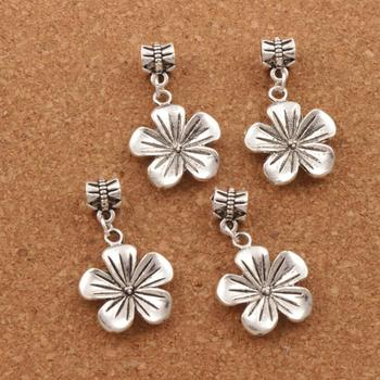 80ps  Antique Silver Tropical Plumeria Flower Big Hole Beads Fit European Bracelets Jewelry DIY B327 19.3x33.8mm